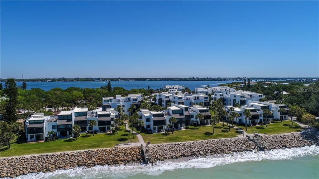 Aerial view of Tamarind complex from the Gulf of Mexico - Condo for sale at 2955 N Beach Rd #b612, Englewood, FL 34223 - MLS Number is D6101147