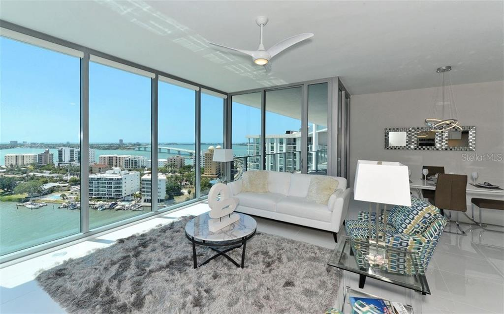 From the living area the view is spectacular day or night! - Condo for sale at 1155 N Gulfstream Ave #1504, Sarasota, FL 34236 - MLS Number is A4215032