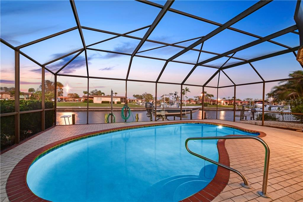 Pool and wide sailboat/powerboat water - Single Family Home for sale at 3807 Royal Palm Dr, Bradenton, FL 34210 - MLS Number is A4402342