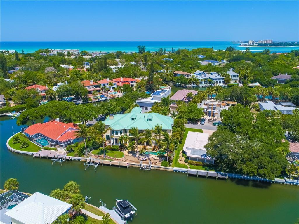 Canal View with Gulf of Mexico and Downtown Sarasota in background - Single Family Home for sale at 506 Venice Ln, Sarasota, FL 34242 - MLS Number is A4402493