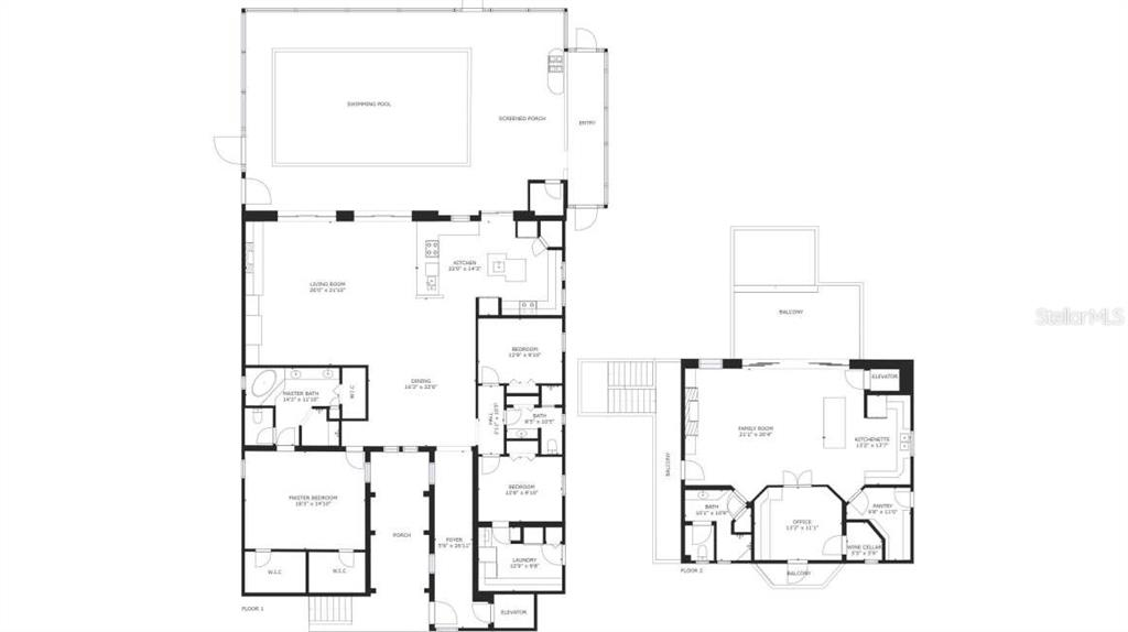 Floor plan of 1st and 2nd floor of the Main House, Available as PDF - Single Family Home for sale at 1778 Bayshore Dr, Englewood, FL 34223 - MLS Number is A4405962
