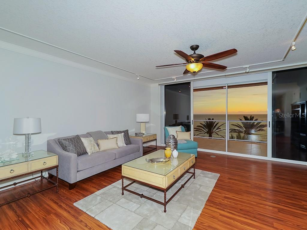 Living Area - Access to the Gulf Terrace - Condo for sale at 1800 Benjamin Franklin Dr #b409, Sarasota, FL 34236 - MLS Number is A4408201
