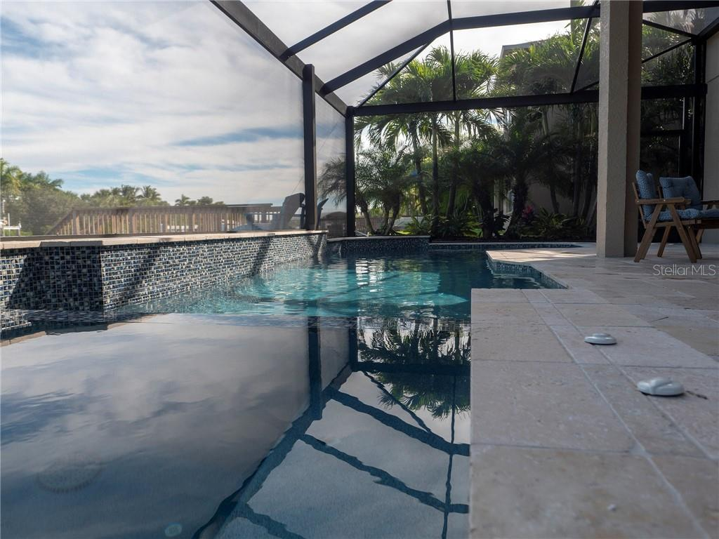 This patio with saltwater pool is surrounded  with this brand new screened enclosure designed to optimize the view of the water beyond. - Single Family Home for sale at 3803 5th Ave Ne, Bradenton, FL 34208 - MLS Number is A4417524