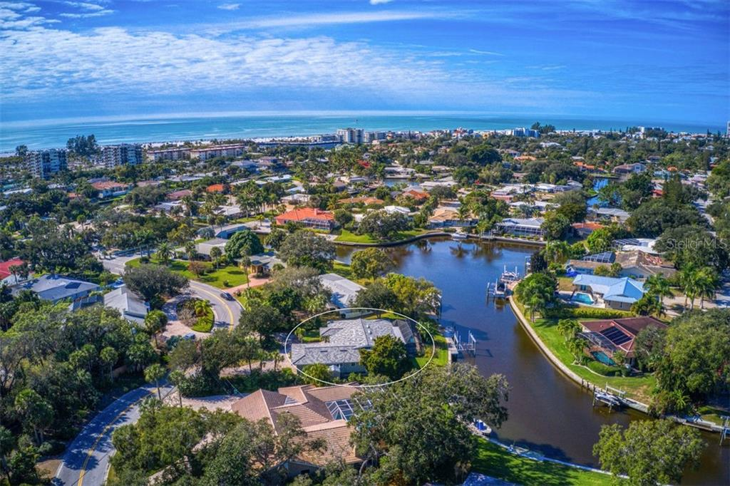 Aerial of home with views of canal and beach. - Single Family Home for sale at 5548 Shadow Lawn Dr, Sarasota, FL 34242 - MLS Number is A4423461