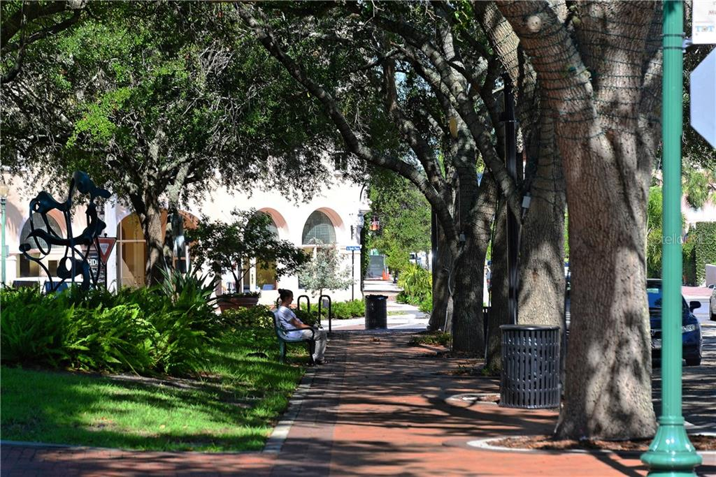 Shaded sidewalks heading to the Opera House - Condo for sale at 800 N Tamiami Trl #602, Sarasota, FL 34236 - MLS Number is A4436915