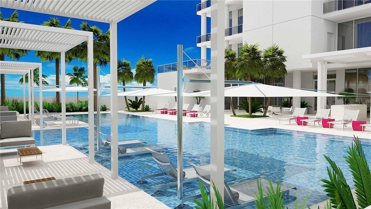 The pool's sun shelf offers cool relief on a hot day. - Condo for sale at 605 S Gulfstream Ave #12, Sarasota, FL 34236 - MLS Number is A4441150