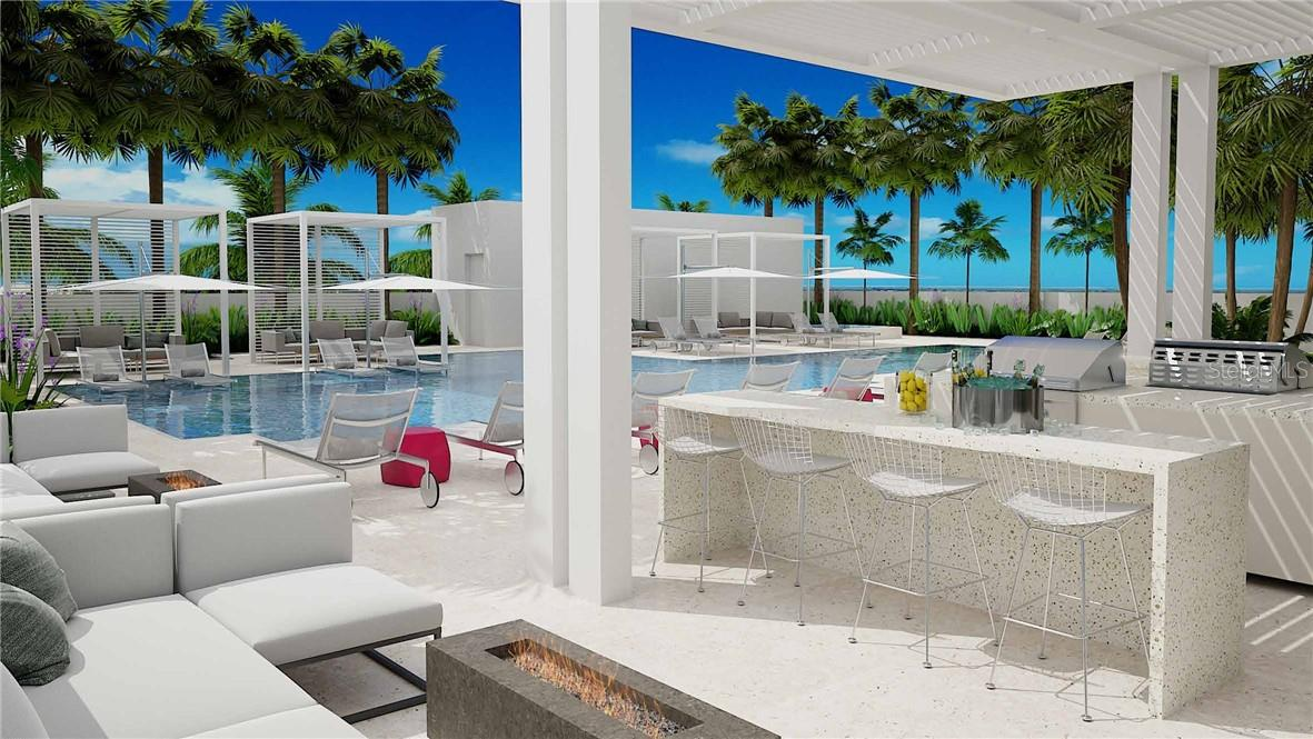 You'll feel like you're on permanent vacation at EPOCH's resort inspired pool terrace; lap & recreation pool, hot tub, fire tables, bar & grill and a one-of-a-kind sun shelf for the ultimate in cool. - Condo for sale at 605 S Gulfstream Ave #15, Sarasota, FL 34236 - MLS Number is A4453705