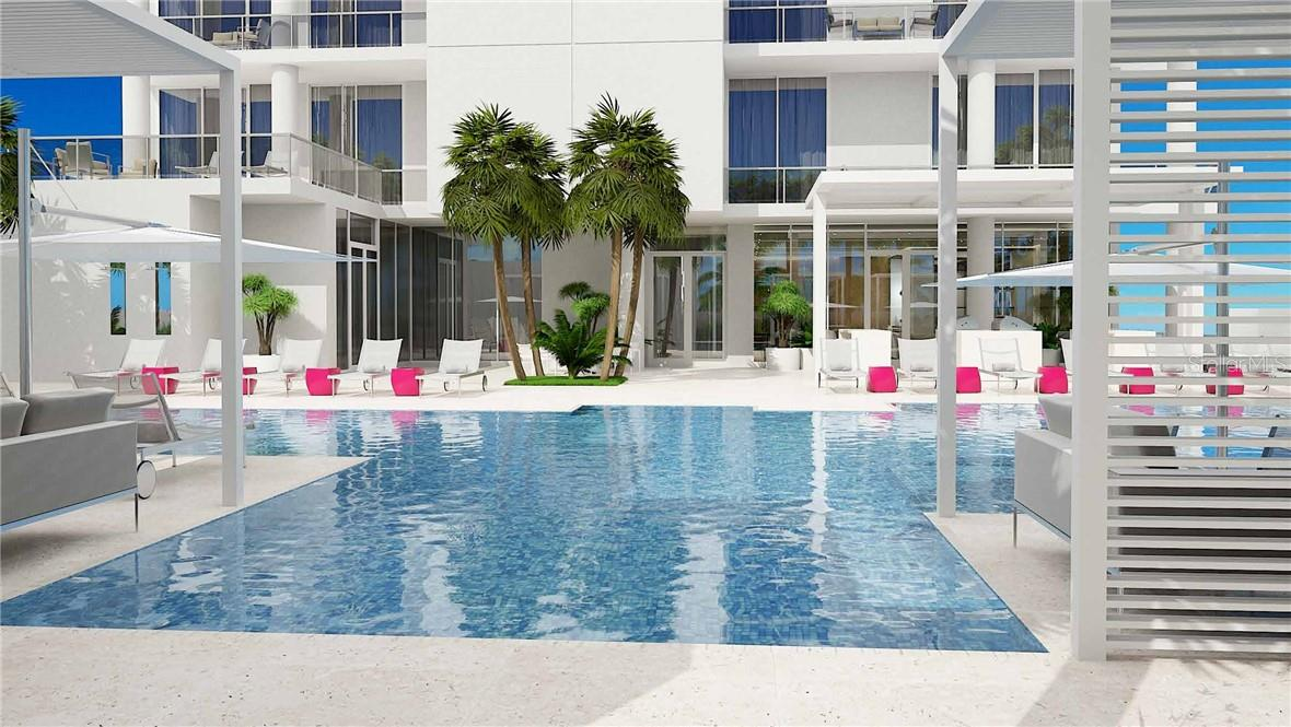 Tropically Landscaped Terrace with 70ft. Lap Pool, Spa, Fire Tables, Bar & Grille - Condo for sale at 605 S Gulfstream Ave #Ph18, Sarasota, FL 34236 - MLS Number is A4458982