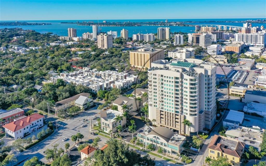 This shows the building in relation to downtown and the barrier islands - Condo for sale at 1771 Ringling Blvd #1110, Sarasota, FL 34236 - MLS Number is A4474683