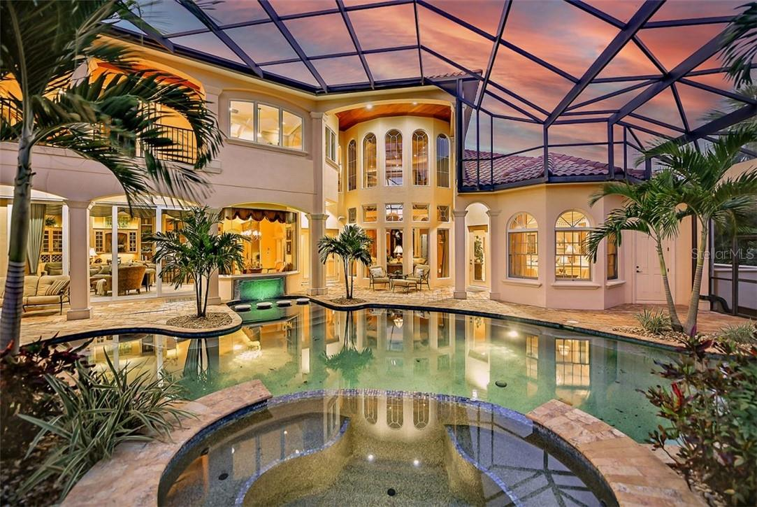 BEAUTIFUL 8 PERSON SPA THAT SPILLS OUT INTO THE POOL - Single Family Home for sale at 8263 Archers Ct, Sarasota, FL 34240 - MLS Number is A4483993