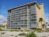View of Gulf Horizons from the beach. - Condo for sale at 555 The Esplanade N #102, Venice, FL 34285 - MLS Number is A4450635