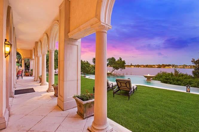 Library Loggia looking towards Pool & Blackburn Bay - Single Family Home for sale at 1492 Casey Key Rd, Nokomis, FL 34275 - MLS Number is A4189751