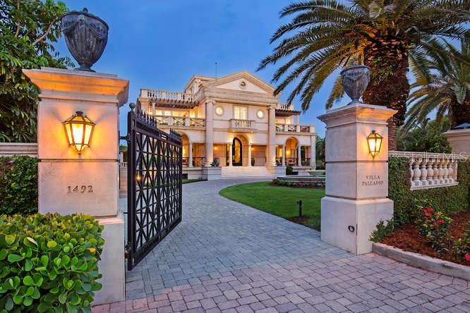 Villa Palladio North Entrance Gate at night - Single Family Home for sale at 1492 Casey Key Rd, Nokomis, FL 34275 - MLS Number is A4189751