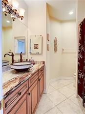 Guest Bath with outstanding granite and vessel sink. - Condo for sale at 9453 Discovery Ter #201c, Bradenton, FL 34212 - MLS Number is A4423314